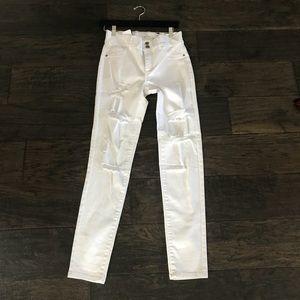 NY&C white distress high waist legging Jean soho